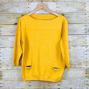 Ana Sweater 3/4 Sleeve Mustard Size Large